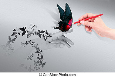 Inspiration concept with beautiful butterfly - Inspiration...