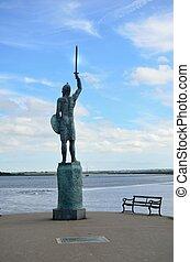 Warrior over river - Statue of Warrior overlooking River