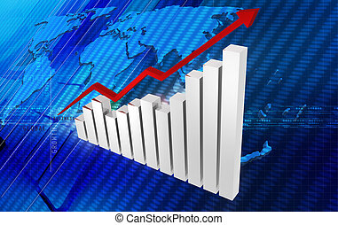 Business graph with growth arrow