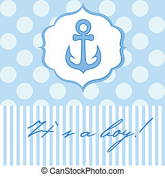 Baby boy shower card with cute anchor on seamless polka dots