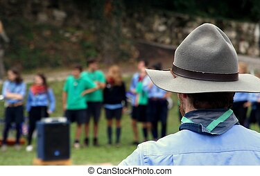 Chief scout with the typical Hat while controlling their...