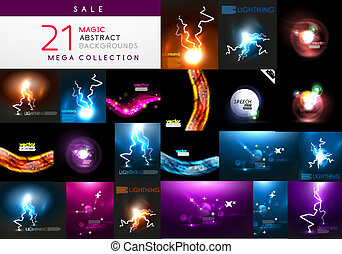 Set of abstract dark magic backgrounds