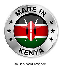 Made In Kenya - Made in Kenya silver badge and icon with...