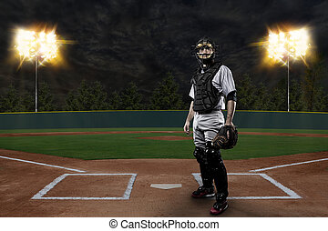 Catcher Baseball Player on a baseball Stadium