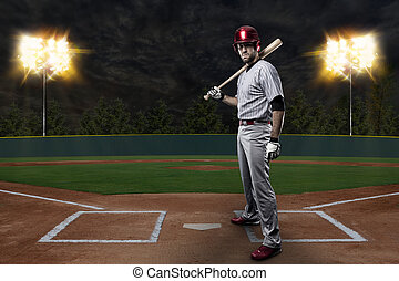Baseball Player on a baseball Stadium.