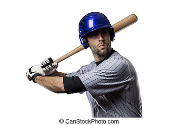 Baseball Player in a blue uniform, on a white background