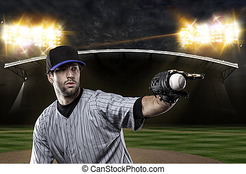 Baseball Player on a Blue Uniform on baseball Stadium.