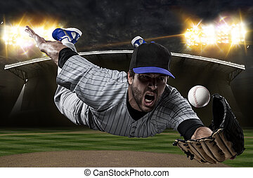Baseball Player on a Blue Uniform on baseball Stadium