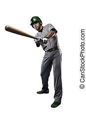 Baseball Player in a Green uniform, on a white background