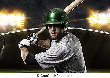 Baseball Player on a Green Uniform on baseball Stadium