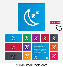 Sleep sign icon Moon with zzz button Standby Metro style...