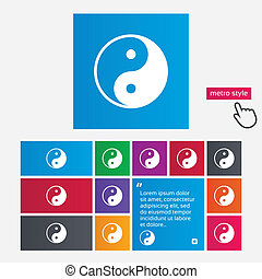 Ying yang sign icon Harmony and balance symbol Metro style...