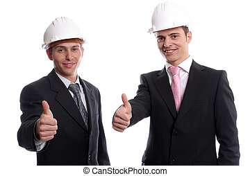 Business team, showing thumbs up, isolated in white...