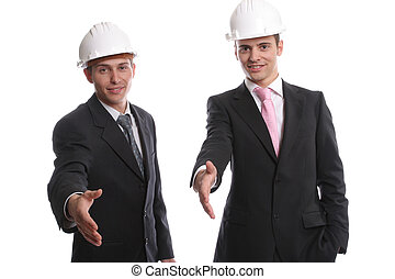 Business team, offering to shake hands, isolated in white...
