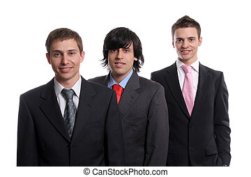 three young business men isolated on white background -...