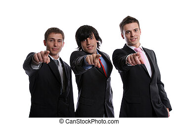 Business team gesturing, isolated in white background