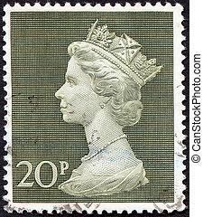Queen Elizabeth II on vintage postage stamp