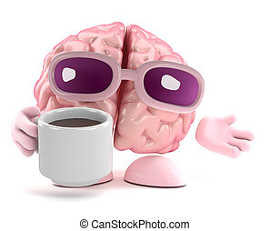 3d Brain break - 3d render of a brain with a cup of tea