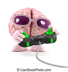 3d Brain games - 3d render of a brain playing a videogame