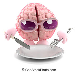 3d Brain food - 3d render of a brain with an empty plate