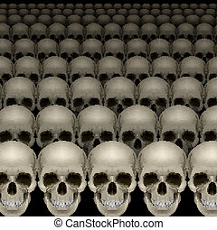 Rows of skulls on black. Scary and spooky background