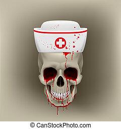 Bleeding skull in nurse cap - Bleeding human skull in white...