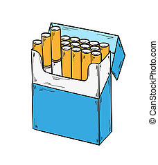 pack of cigarettes - sketch of the cigarettes pack on white...