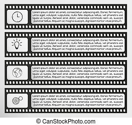 infographic vector filmstrip with text and icons