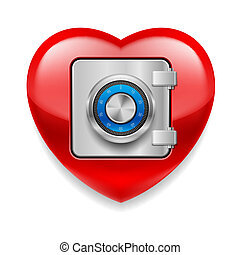 Shiny red heart as a safe - Glossy red heart with safe door...