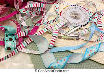 scrapbooking - scrapbook background. ribbon with decoration...
