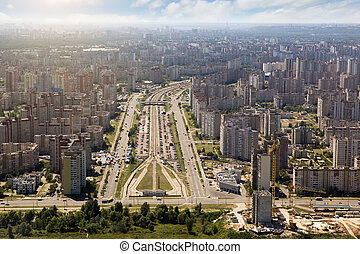 Kiev, summer cityscape of Ukrainian capital from birds eye...