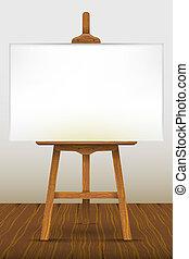 Schildersezel, leeg, doek, houten, vloer vectoren
