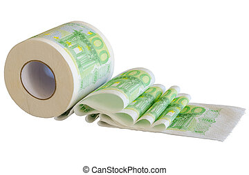 Toilet paper roll with European Union currency banknotes