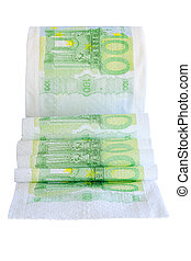 Unwound toilet peper roll with 100 euro bank notes