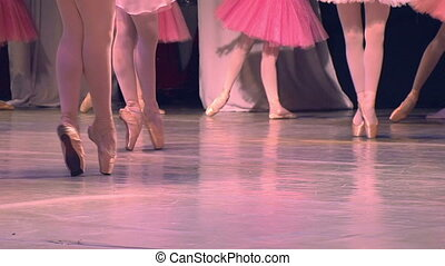 Ballet Performances - Feet in pointe dancing ballerinas on...