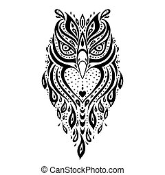 Decorative Owl. Ethnic pattern. - Decorative Owl. Tribal...