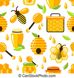 Honey seamless pattern - Decorative honey bee hive and cell...