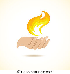 Hands hold fire flame mystery danger creation concept poster...