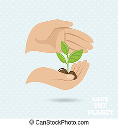 Hands earth protect poster - Hands holding plant sprout save...
