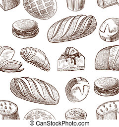Pastry seamless pattern - Puff sweet pastry baked cake and...