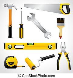 Realistic carpenter tools icons collection - A collection of...