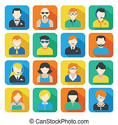 Business Avatar Icons Set - Avatar pictograms social...