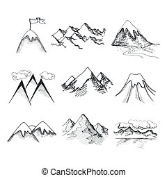 Mountain top icons - Hand drawn snow ice mountain tops...