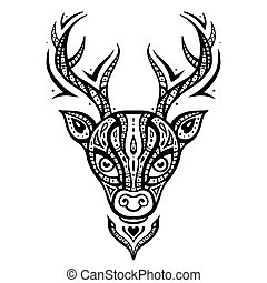 Deer head. Ethnic pattern. - Deer head. Tribal pattern....