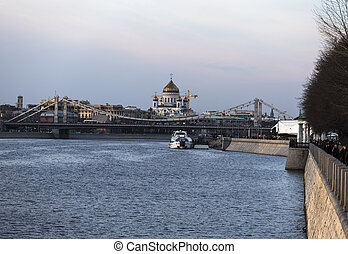 Crimean Bridge and Cathedral of Christ the Savior