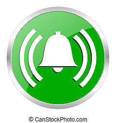 alarm icon - green web gloosy button