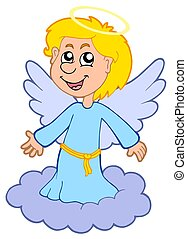 Boy angel on cloud - isolated illustration.