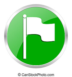 flag icon - green web gloosy button