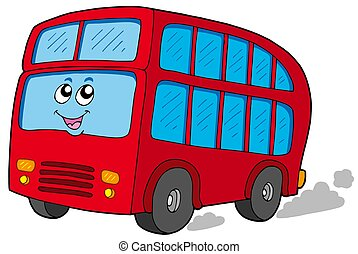 Cartoon doubledecker on white background - isolated...
