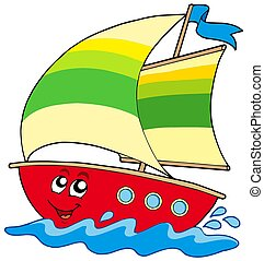 Cartoon sailboat on white background - isolated illustration...